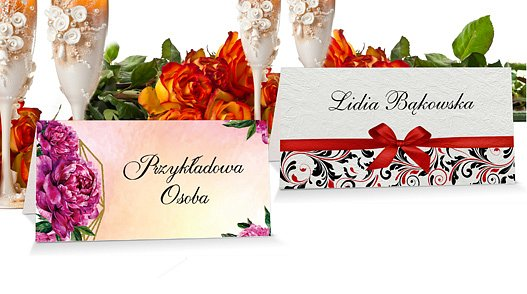 Winietki Ślubne na stół