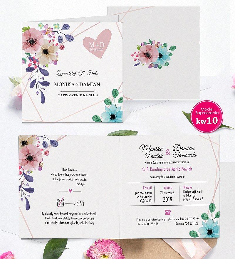 Zaproszenia ślubne Rustykalne kwiatowe z personalizacją model kw10