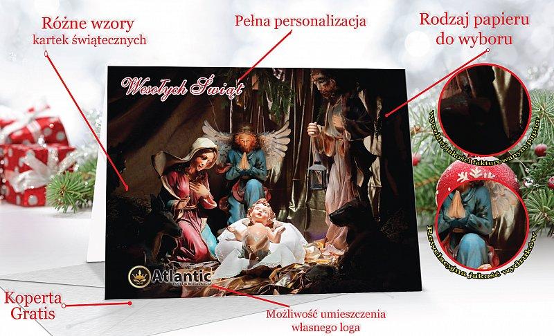 Kartki świąteczne z motywem religijnym z własną treścią życzeń - model 59
