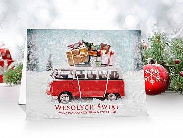 Kartki świąteczne firmowe - model 48 z autem