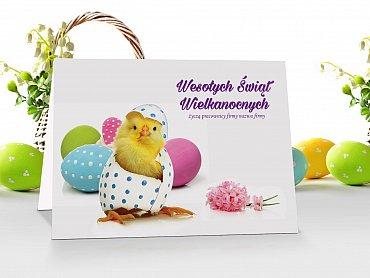 Kartki wielkanocne firmowe z logo i życzeniami - model 20