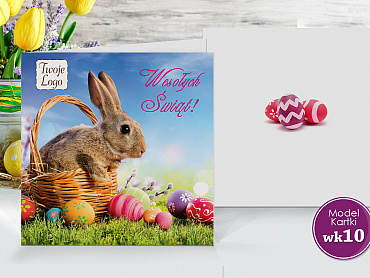 Kartki wielkanocne dla firm z logo z królikiem - model wk 10