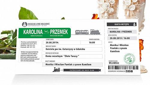 Zaproszenia Ślubne w formie Biletów - model 13 - bilet kolejowy