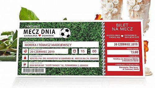 Zaproszenia Ślubne w formie Biletów - model 14 - bilet na mecz