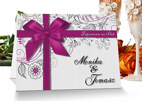 Zaproszenia ślubne z personalizacją - 3 różowy