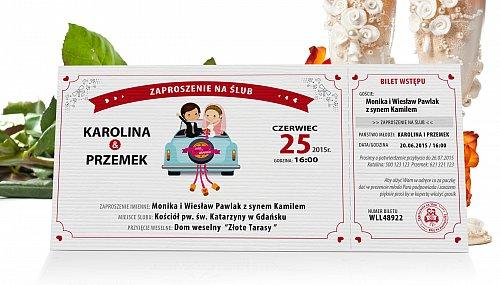Zaproszenia Ślubne w formie Biletów - model 3