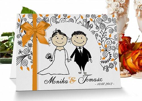 Zaproszenia ślubne na zamówienie 4 pomarańczowy