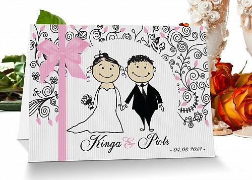 Zaproszenia ślubne 4 jasny róż