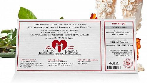Zaproszenia Ślubne w formie Biletów - model 4