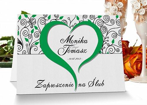 Zaproszenia ślubne - Model 5 zielony z sercem
