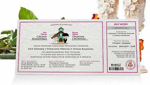 Zaproszenia Ślubne w formie Biletu - model 5