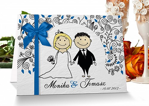 Zaproszenia ślubne 7 niebieski blondynka