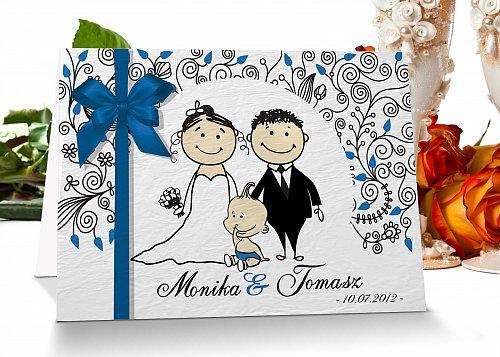 Zaproszenia ślubne - Model 8 niebieski