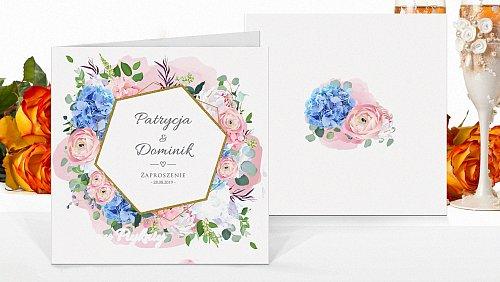 Zaproszenia ślubne kwadratowe Rustykalne boho różowe