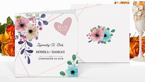 Zaproszenia ślubne Rustykalne kwiatowe model kw10