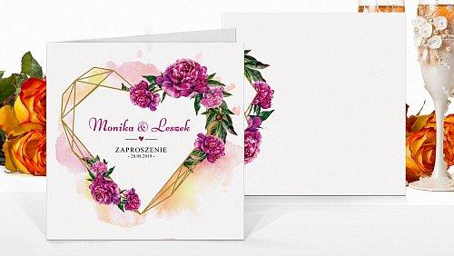 Zaproszenia ślubne kwadratowe Rustykalne fioletowe kw9