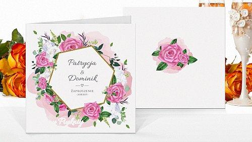Zaproszenia ślubne Rustykalne różowe kw7
