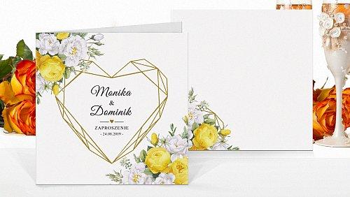 Zaproszenia ślubne kwadratowe Rustykalne zółte kw12