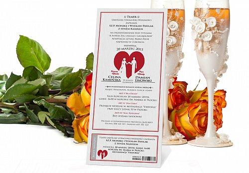 Zaproszenia Ślubne w formie Biletów - model 10