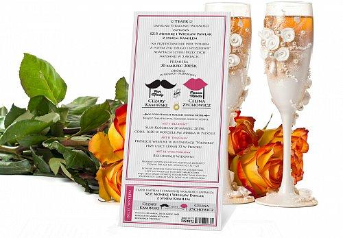 Zaproszenia Ślubne w formie Biletów - model 6