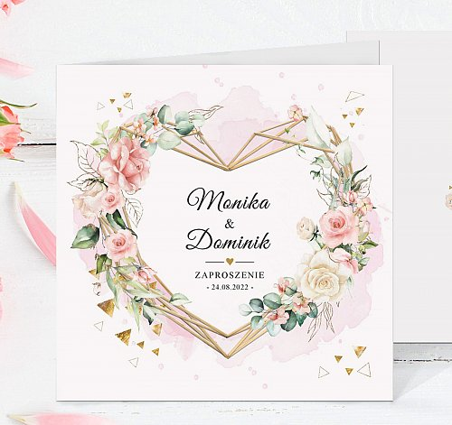 Zaproszenia ślubne kwadratowe - Serce, Kwiaty Model ke1