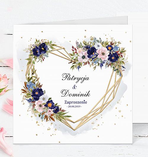 zaproszenia ślubne - kwiaty niebieskie - boho - serce