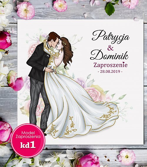 Zaproszenia ślubne kwadratowe - Glamour Model kd1