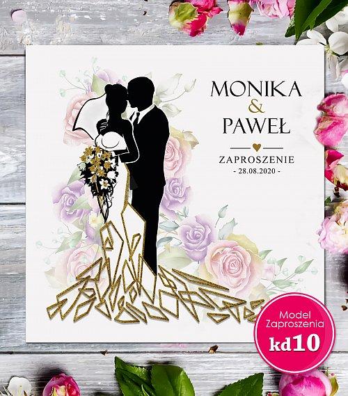 Zaproszenia ślubne kwadratowe - Glamour Model kd10