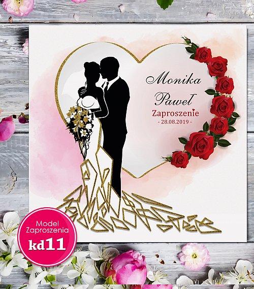 Zaproszenia ślubne kwadratowe - Glamour Model kd11