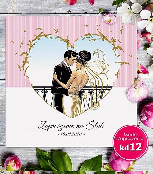 Zaproszenia ślubne kwadratowe - Glamour Model kd12