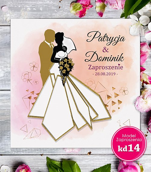 Zaproszenia ślubne kwadratowe - Glamour Model kd14