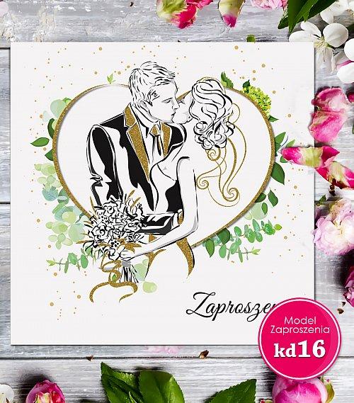 Zaproszenia ślubne kwadratowe - Glamour Model kd16