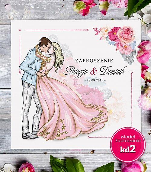 Zaproszenia ślubne kwadratowe - Glamour Model kd2