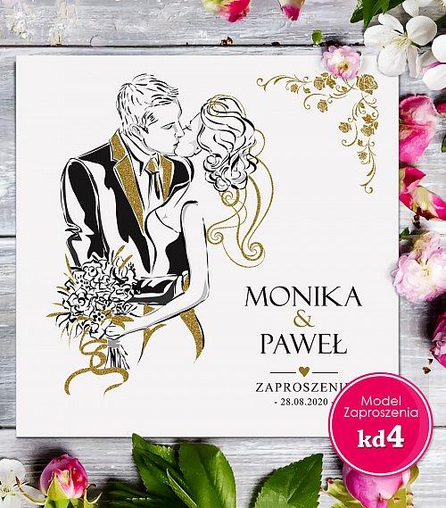Zaproszenia ślubne kwadratowe - Glamour Model kd4