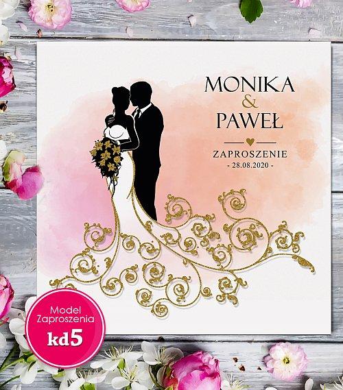Zaproszenia ślubne kwadratowe - Glamour Model kd5