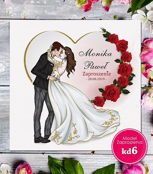Zaproszenia ślubne kwadratowe - Glamour Model kd6