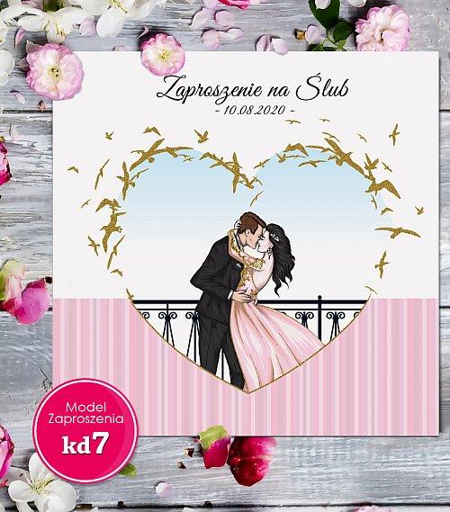 Zaproszenia ślubne kwadratowe - Glamour Model kd7