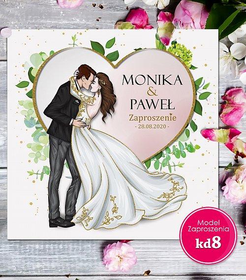 Zaproszenia ślubne kwadratowe - Glamour Model kd8
