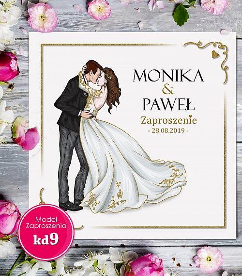 Zaproszenia ślubne kwadratowe - Glamour Model kd9