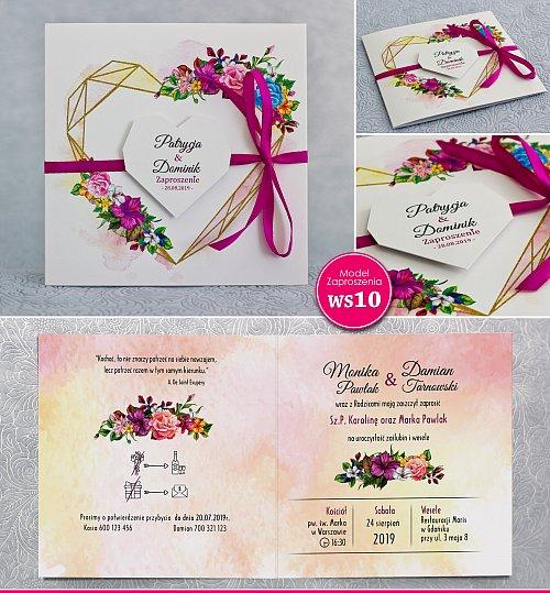 Zaproszenia ślubne kwadratowe ze wstążką - Rustykalne Model Ws10