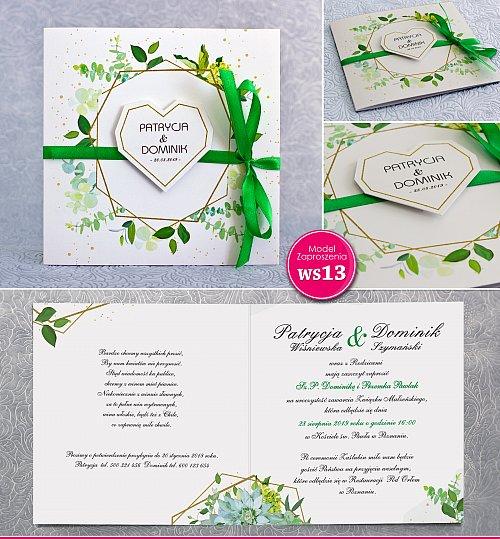Zaproszenia ślubne kwadratowe ze wstążką zieloną  geometryczne- Rustykalne Model Ws13