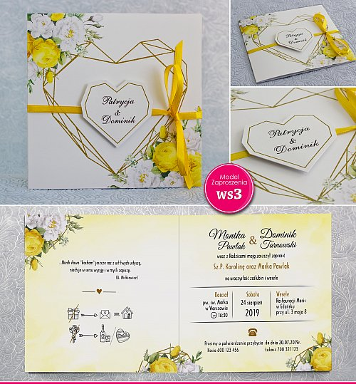 Zaproszenia ślubne kwadratowe ze wstążką - Rustykalne żółte róże -  Model Ws3