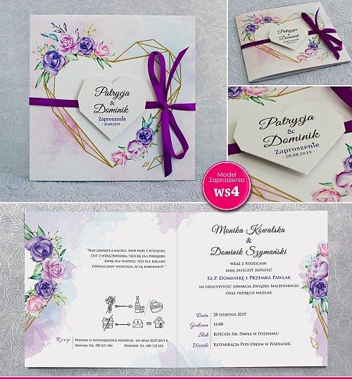 Zaproszenia ślubne kwadratowe ze wstążką fiolet- Rustykalne Model Ws4