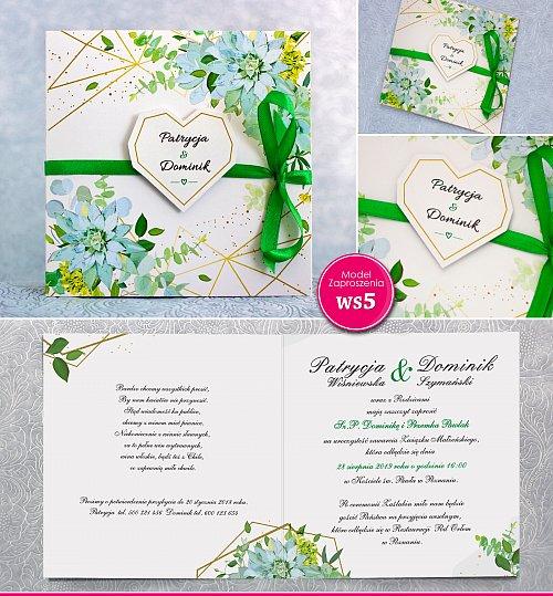Zaproszenia ślubne kwadratowe ze wstążką zielona - Rustykalne Model Ws5