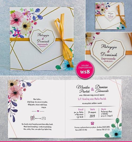 Zaproszenia ślubne kwadratowe ze wstążką zółtą - Rustykalne wyciętym sercem Model Ws8