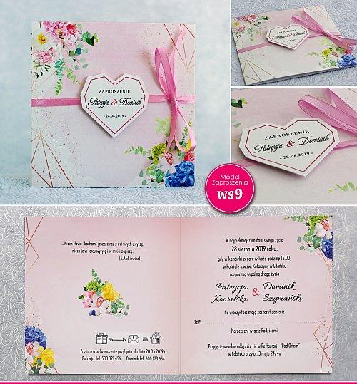 Zaproszenia ślubne kwadratowe ze wstążką i sercem - Rustykalne Model Ws9
