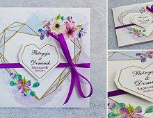 Zaproszenia ślubne kwadratowe ze wstążką fioletowe - Rustykalne Model Ws11