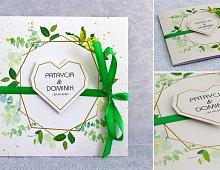 Zaproszenia ślubne kwadratowe ze wstążką zieloną - Rustykalne Model Ws13